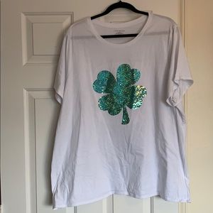 Lane Bryant sequin shamrock T-shirt